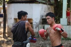 Boxe Birmane dans un monastère